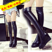 Autumn winter new style long leather over the knee boots boots increased elastic wedges platform boots with pointy boots women