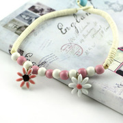 Handmade hand Kung Fu Jingdezhen ceramic colorful little flower anklet national spring wild new mail