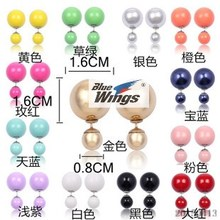 Crane xin of Japan and South Korea before and after the double pearl earrings fashion temperament big earrings female fluorescent candy colors exaggerated