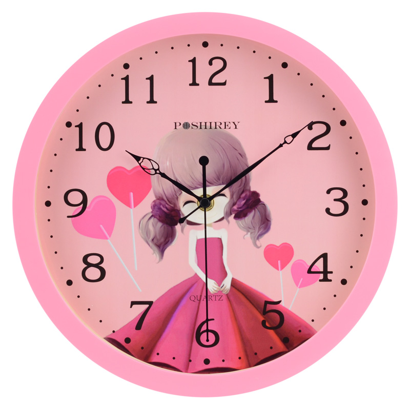 Baoshi Lai cute wall clock children cartoon wall clock girl bedroom ...