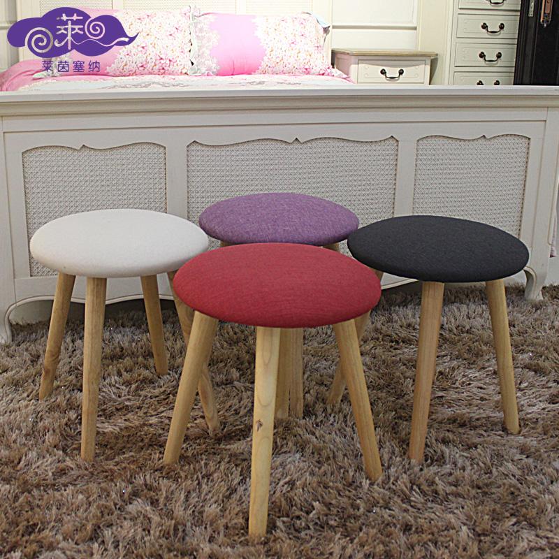 日式小凳小板凳 圓凳簡約換鞋凳子實木凳布藝餐凳梳妝凳矮凳
