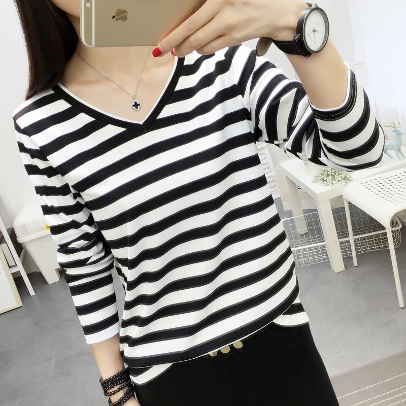 韓國東大門寬鬆條紋T恤 大碼簡約V領體恤打底衫 女士秋衣外穿長袖
