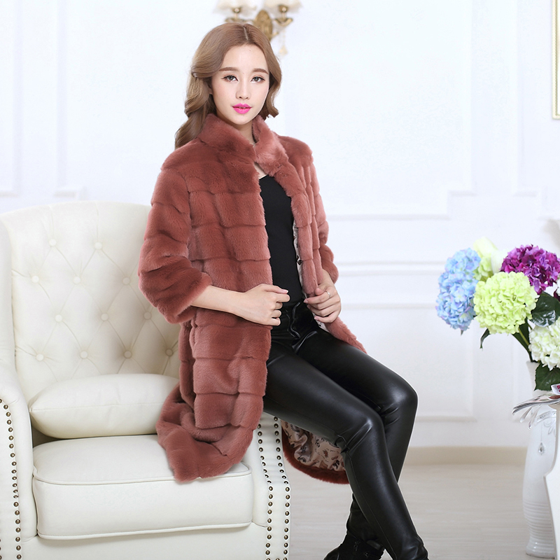 2015 году Зимние новые плюс размер дамы длинный искусственный Шуба Кролик Рекс меха Скидки Распродажа пальто жира мм