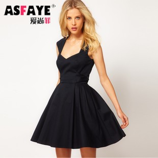 As Faye Hepburn style retro dress Europe annual conference banquet Slim thin black waist dress