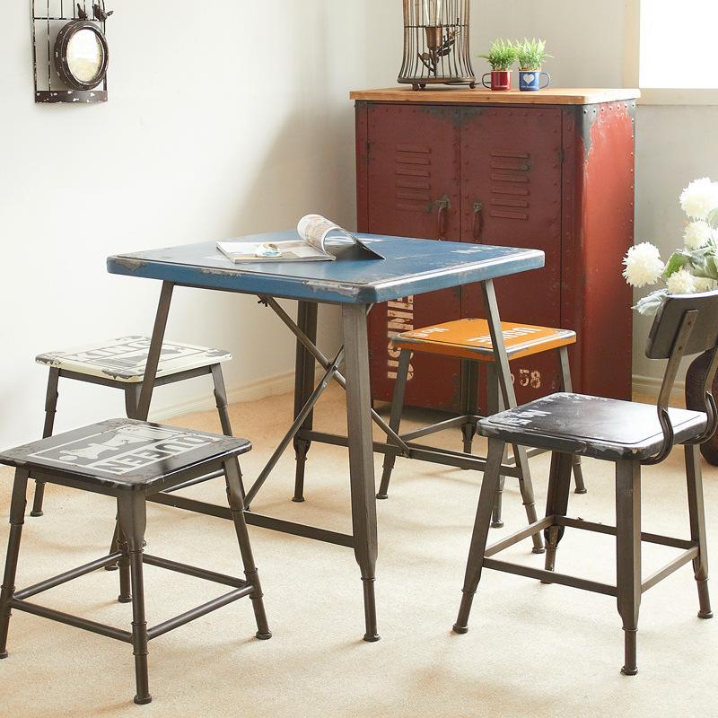 Американский loft сделать старый массовая доля железа полный обеденный стол стул творческий сделать старый на открытом воздухе еда напиток магазин кофе магазин столы и стулья сочетание