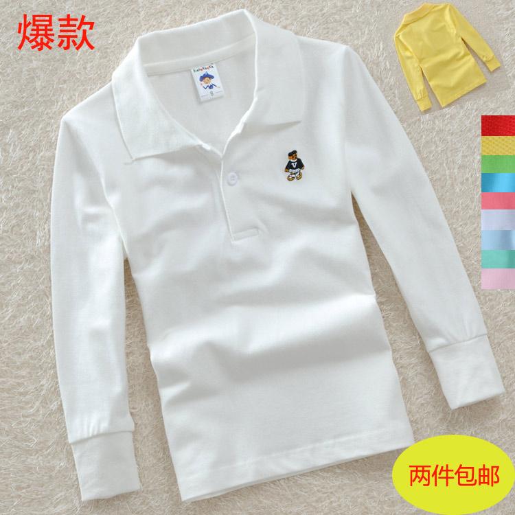 2015 году весной детской одежды для мальчиков и девочек детей хлопок рубашки поло сетки хлопок длинные t рубашка сплошной цвет длинный рукав