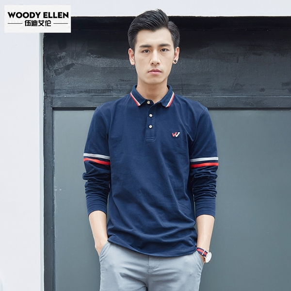 Woody Allen's new spring 2017 men's cotton polo shirt lapel Slim young men's long-sleeved t-shirt tide