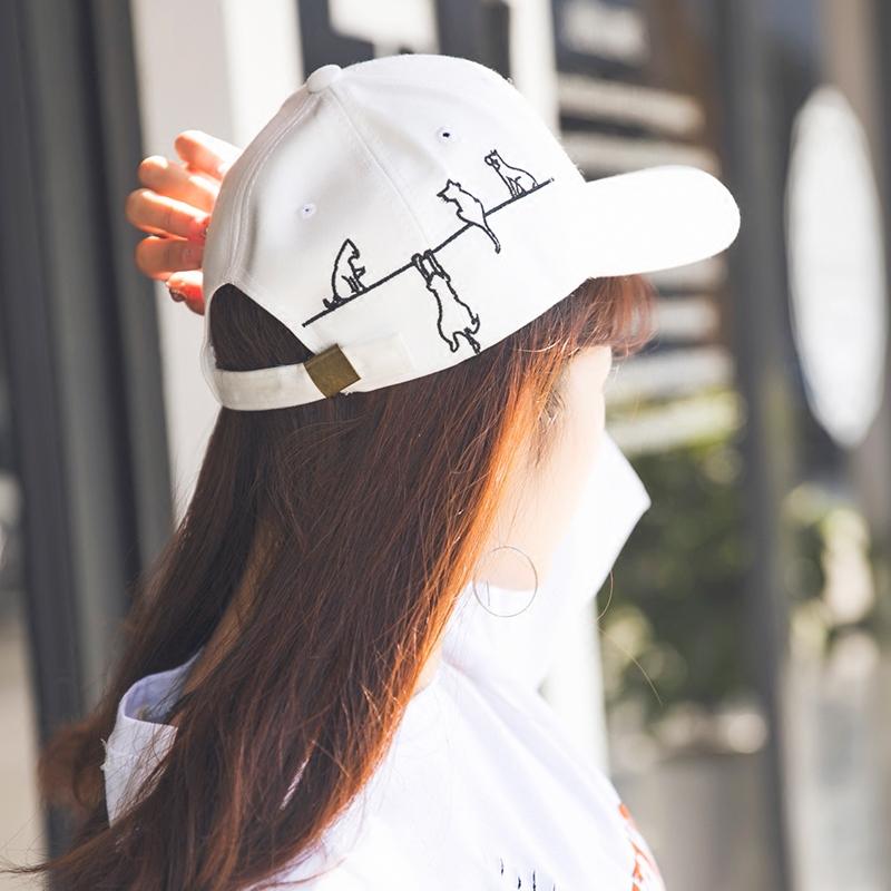 棒球帽子女帽可愛卡通貓咪刺繡純色學生鴨舌帽 男帽遮陽帽