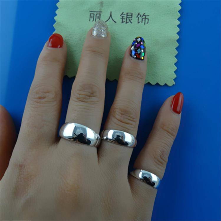 包邮99纯银可调节银饰对戒990足银戒指光面男女情侣款 活口足银戒