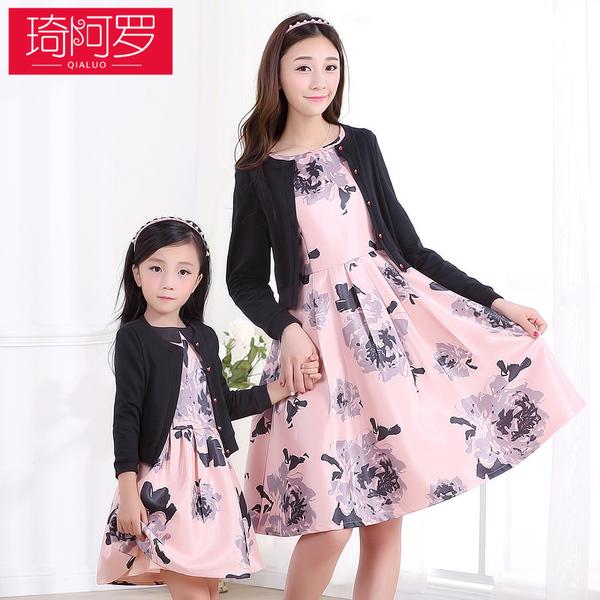 亲子装套装连衣裙新款春秋冬装母女装裙女童打底裙子两件套外