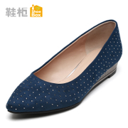 Shoebox shoe sexy shoes with Rhinestone 2015 fall New England pointed wedges flat, shallow mouth shoes