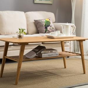 竹庭日式休闲桌小户型实木矮桌功夫茶桌现代简约客厅楠竹茶几家用