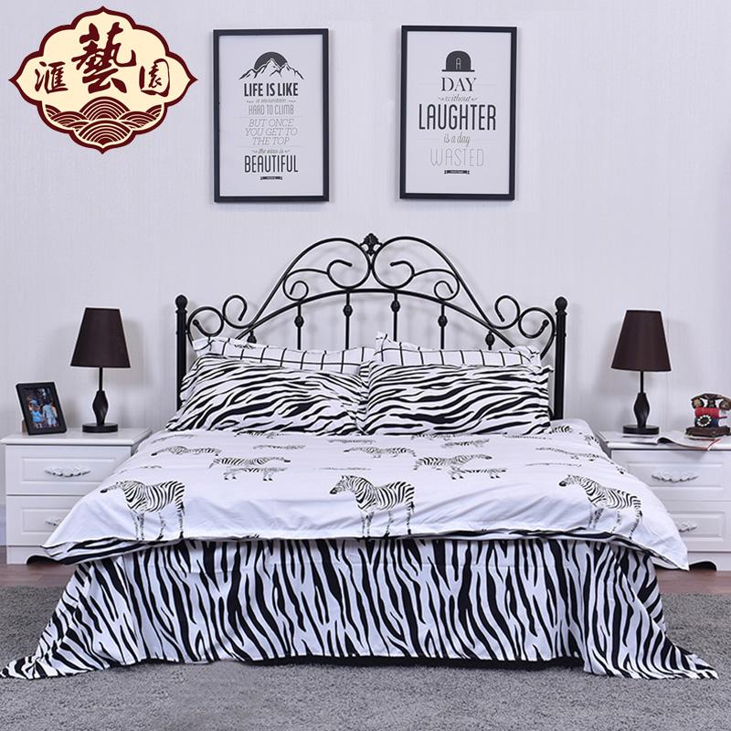 歐式金屬鐵藝床鐵床雙人床單人床簡易鋼木床宿舍床鐵架床1.5米