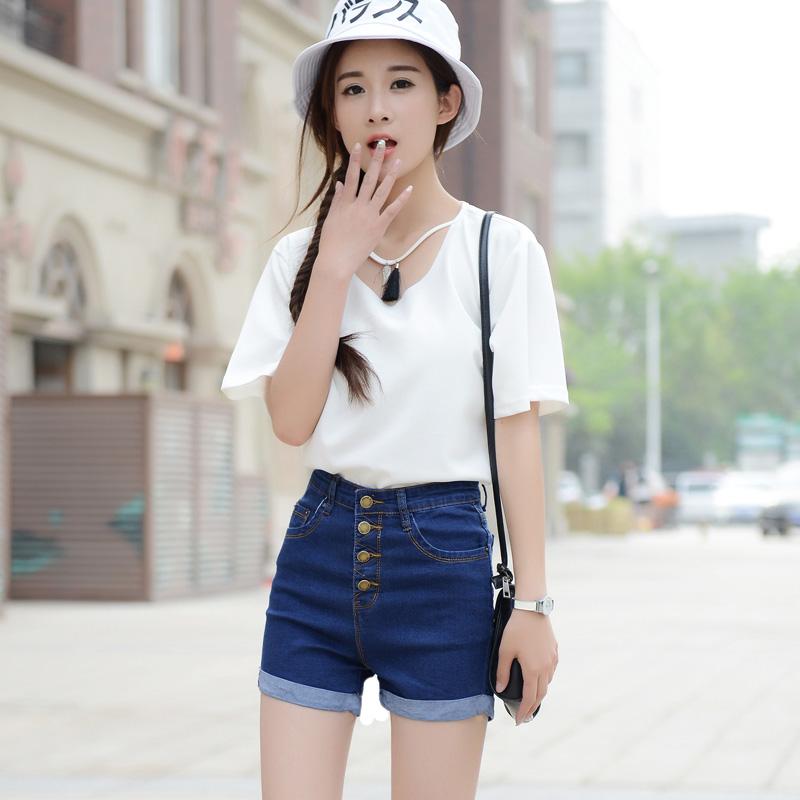 超短裤女夏学生高腰牛仔短裤女韩版显瘦卷边短裤女夏天外穿热裤潮