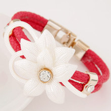 Europe and the United States fashion jewelry piece of personality PU flower color bracelet deserve to act the role of foreign trade bracelet speed sell through selling female wedding dresses