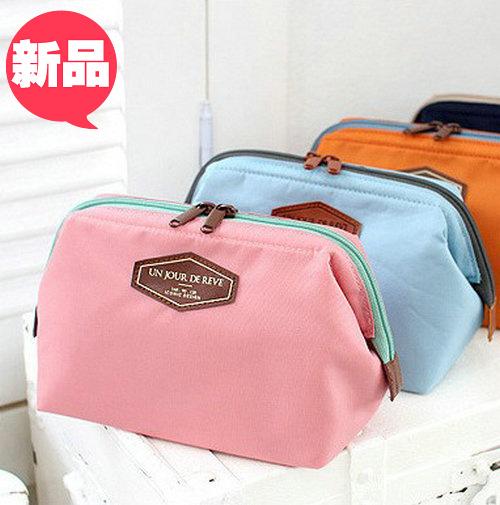 新品韩国手拿包中包化妆袋 化妆品收纳 便携可爱蛙口钢架化妆包