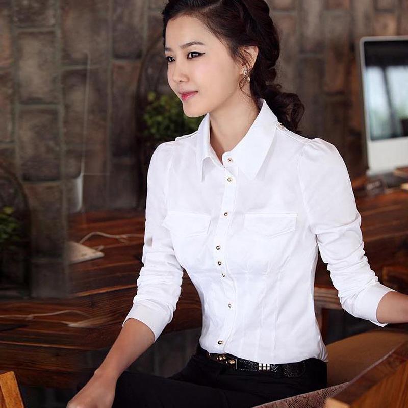 春裝襯衫2017 女式長袖襯衫襯衣修身棉質職業襯衫衣工衣工作服