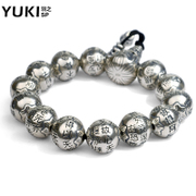 YUKI Thai silver bracelet beads 925 Silver jewelry heart men''s retro hipster accessory full text handling Pearl silver jewelry