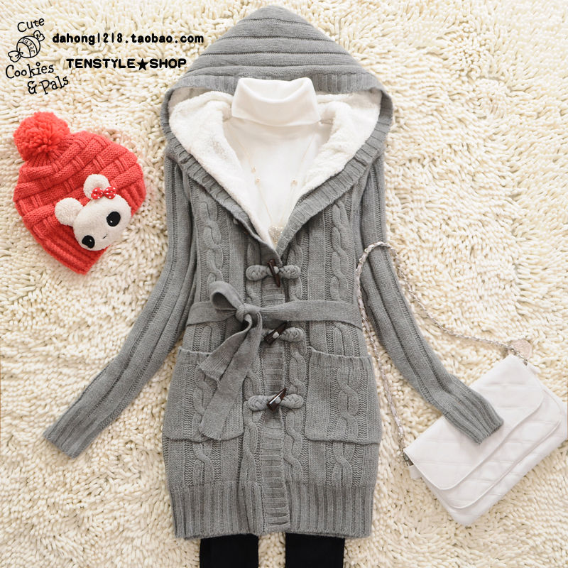 Новые дамы зимой долго в корейской версии держать теплый плюс размер плюс бархат мягкий рог кнопку свитер с капюшоном Пальто