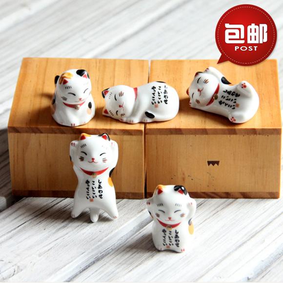 特惠陶瓷手绘日式筷托筷架幸福猫筷子托创意餐桌摆台用品一套包邮
