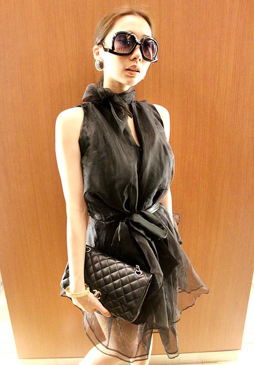 Korea Cocopark half high neck bow cut out sleeveless corset Organza puff zipper skirt dress