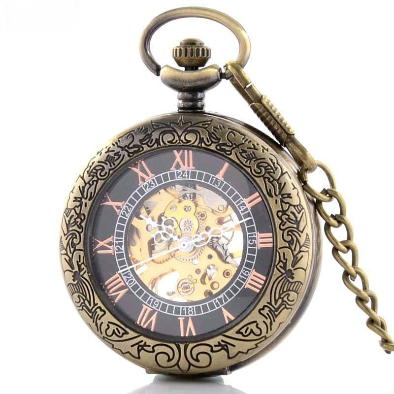 Retro cover hollowed out magnifying glass mechanical Pocket Watch Chain Watch hanging watch male watch student table creativity