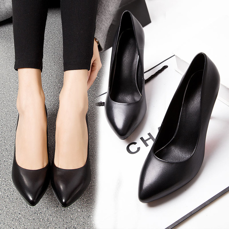 Shihan 33 black professional work shoes womens spring high heels single shoes large leather womens shoes thin heels pointed etiquette