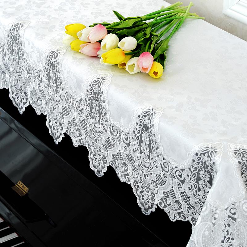 泰繡歐式蕾絲鋼琴罩布藝鋼琴防塵蓋布雅馬哈鋼琴全罩白色鋼琴巾