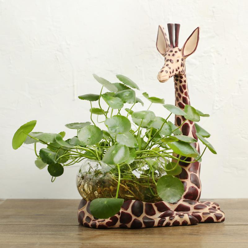 Американский жираф животное смола стеклянный баллон гидропонный контейнер ваза настольный орнамент украшение дома ремесла