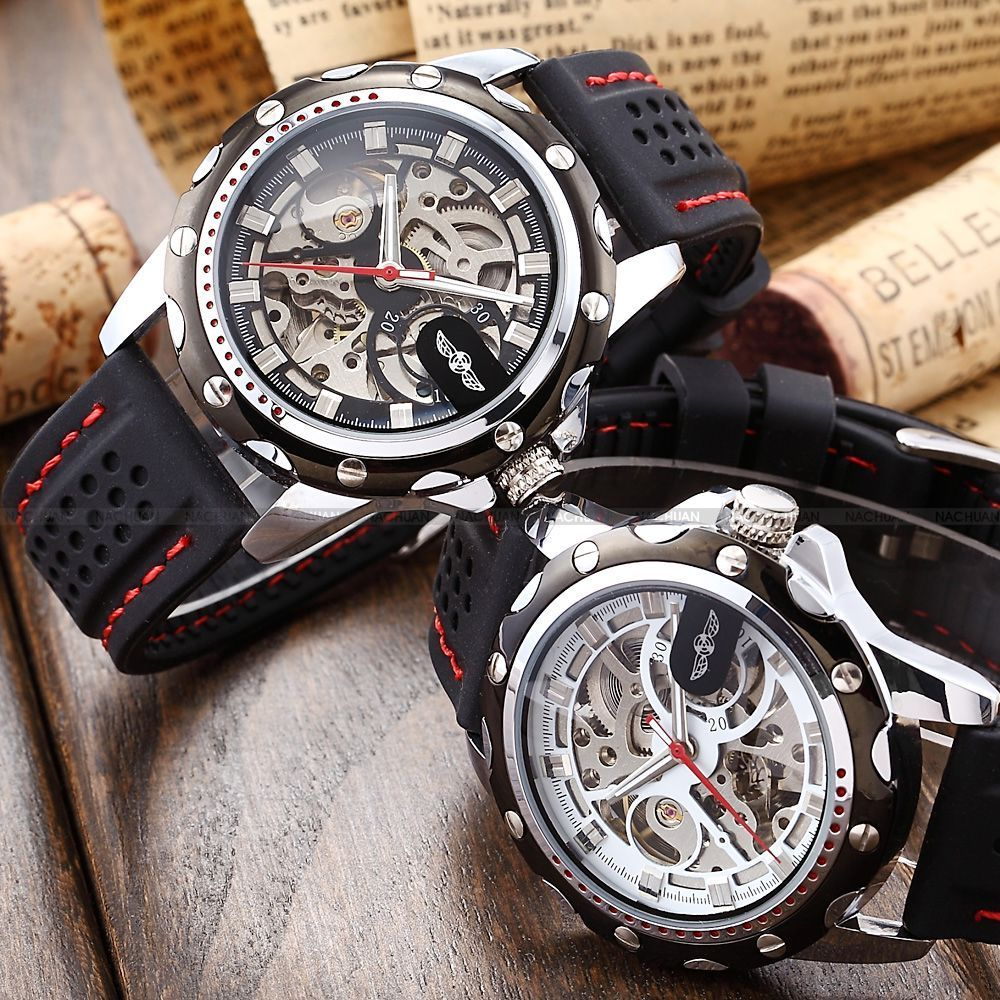[free freight insurance] mens watch mens watch hollow out automatic mechanical watch silicone watch mens watch wn007