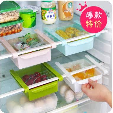 巧居家冰箱保鲜隔板多用收纳架厨房抽动式冰箱收纳盒小抽屉整理盒