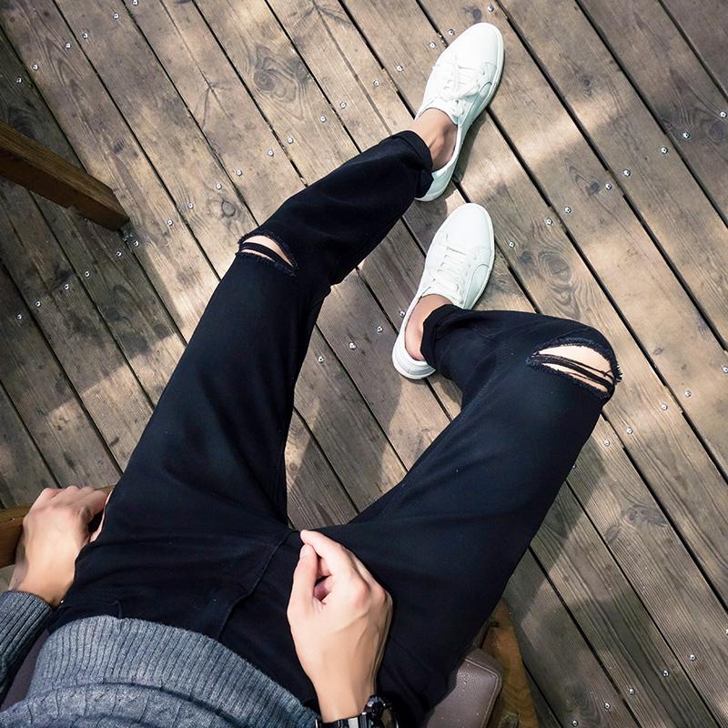2016秋季新款 破洞小脚牛仔裤 A089-K199-P45 特 黑色