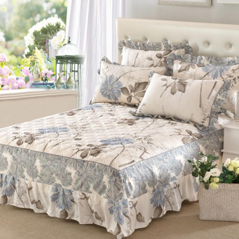 夹棉纯棉床裙式床罩单件三件套全棉加厚款床单床套围裙摆1.8四季