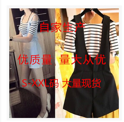 603 a large number of spot off shoulder one neck stripe short sleeve T-shirt wide leg strap one-piece shorts two piece suit for women