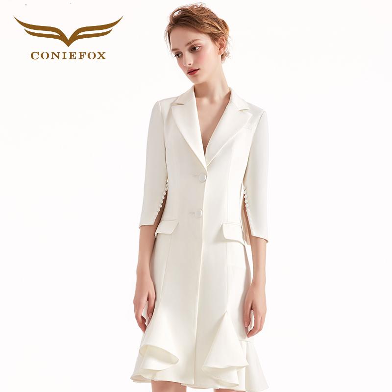 创意狐小西装女2018新款韩版修身显瘦礼服短款时尚宴会晚装礼服裙