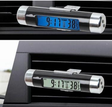 汽车电子表 车用电子时钟表 汽车电子钟 车载温度计夜光 二合一