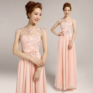 2014 The new high-grade meat powder color nude color thin bride married toast shoulder evening dress long dress show