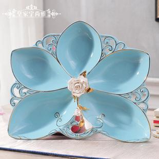 欧式陶瓷描金果盘蓝色水果盘干果盆创意时尚糖果盘客厅装饰品