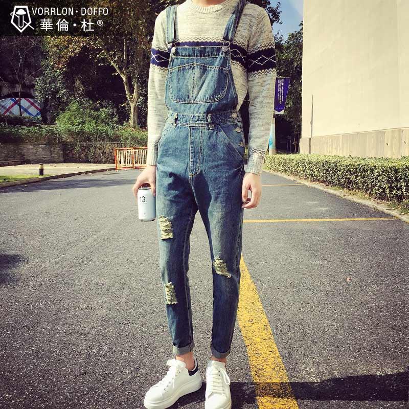 破洞背带牛仔裤男士连身裤日系青年小脚裤修身潮流连体裤吊带裤子