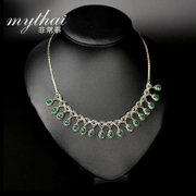 New limited edition Green Thai agate necklace high-end clavicle chain necklace 925 Silver ladies jewelry