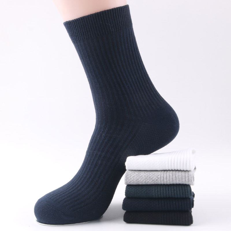 Foreign trade non printed mens pure cotton all cotton thread medium tube business solid color leisure double needle mens socks