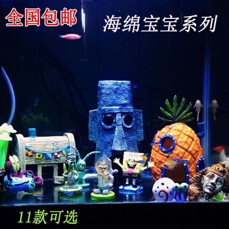 Подлинное ананас точки дома SpongeBob мультфильм фигурки дома рыбы танк пейзаж рыбу бежать пещеры