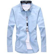 Men fall printed cotton long sleeve shirt tide male bump color trend broken beautiful male thin coat of cultivate one's morality