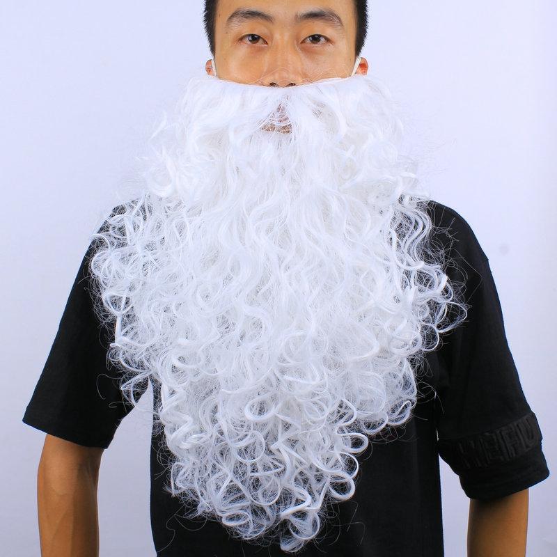 Бородатый человек с длинной белой бородой Санта-Клауса рождественские шоу Хеллоуин косплей платье вверх