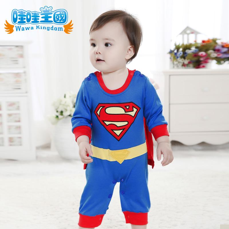 к 2015 году весна новый Супермен стиль комбинезон новорожденных Детская одежда Детская Одежда летняя одежда