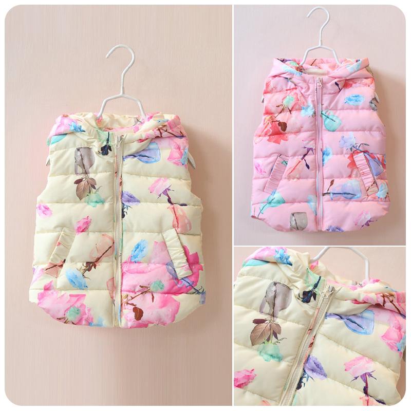 2016 годы корейской версии новых детей одежда Детская принцесса девушки теплый сладкий Джокер печатных жилет пальто