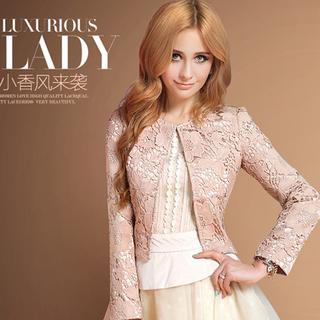2021春秋新款韩版粉色小香风蕾丝短外套女装修身显瘦淑女小外套潮