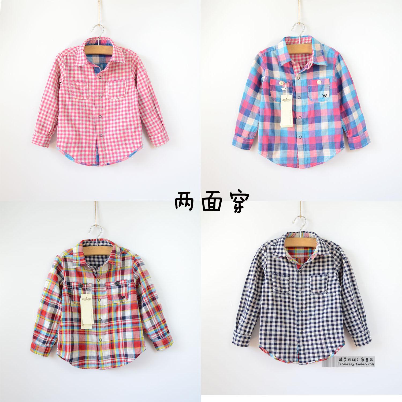 Дети-двухслойная рубашка для мальчиков и девочек рубашка длинный рукав хлопок проверить рубашку весной на обеих сторонах ребенка носить