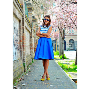 Fashion wild blue torch Pleated mini skirt
