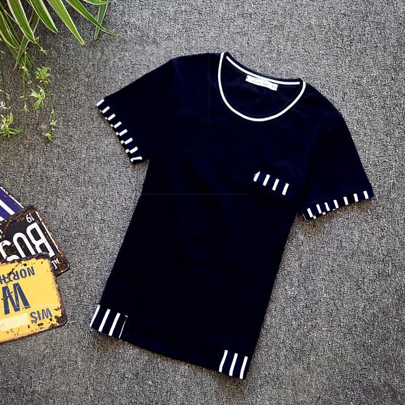 夏天新款青少年短袖T恤男韩版高中学生修身衣服时尚流行帅气男装